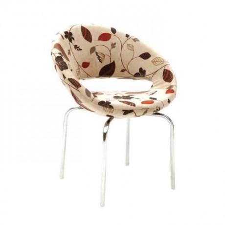 Çiçek Desenli Kumaş Döşemeli Metal Ayaklı Poliüretan Sandalye - psd204