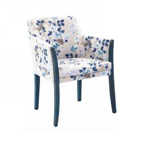 Çiçek Desenli Kumaşlı Poliüretan Kollu Sandalye - psa655