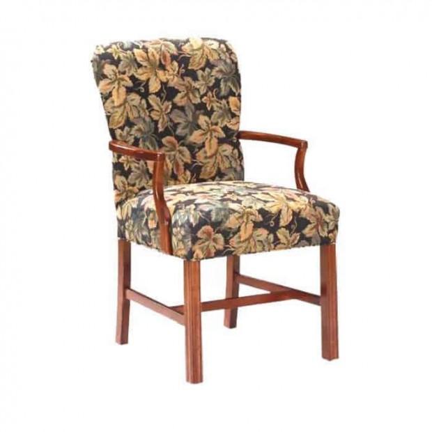Flower Wooden Walnut Painted Armchair