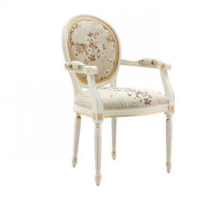 Çiçekli Kumaş Döşemeli Torna Ayaklı Klasik Kollu Sandalye - ksak96