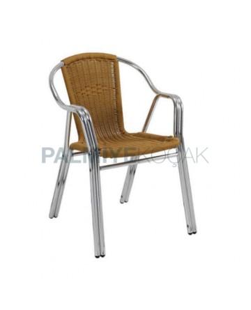 Çift Borulu Örgülü Bahçe Sandalyesi