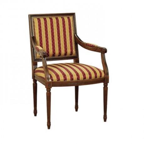 Çizgili Kumaş Döşemeli Torna Ayaklı Klasik Kollu Sandalye - ksak126