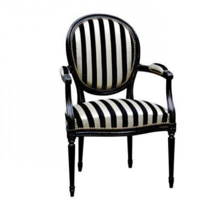 Çizgili Kumaş Döşemeli Wenge Boyalı Kollu Sandalye - ksak16
