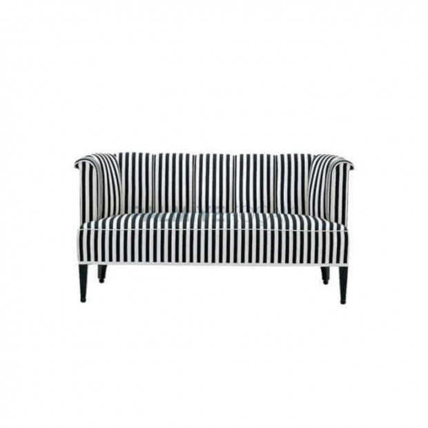 Striped Fabric Black and White Restaurant Couch