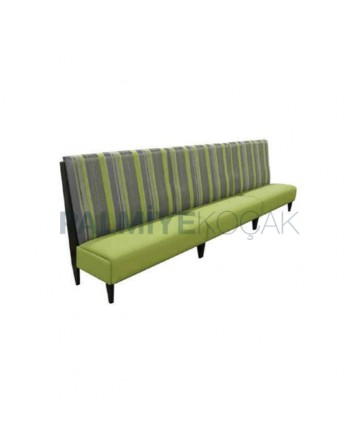 Striped Fabric Green Leather Upholstered Booths