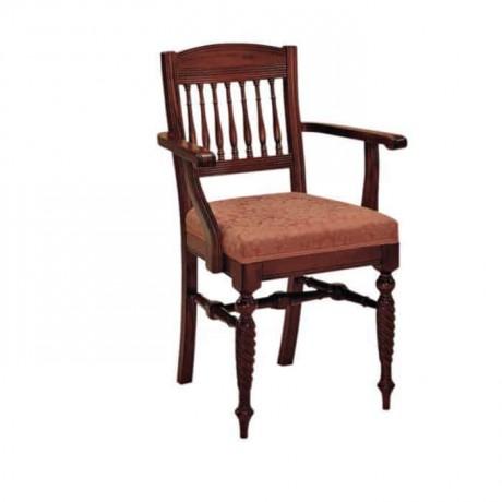 Deri Döşemeli Ceviz Boyalı Kollu Sandalye - ksak36