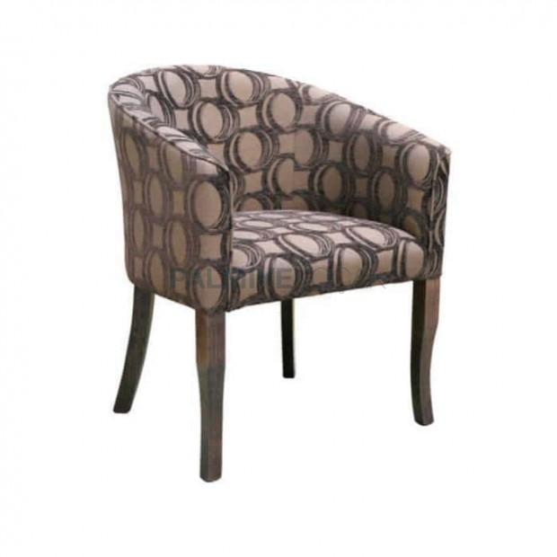 Desenli Gri Kumaşlı Cafe Sandalyesi