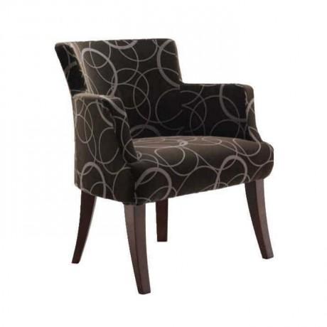 Desenli Gri Kumaşlı Kollu Sandalye - psa686