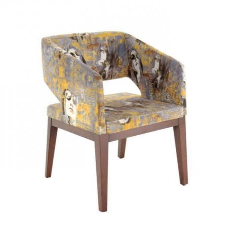 Desenli Kumaş Döşemeli Kollu Modern Poliüretan Sandalye - psa682