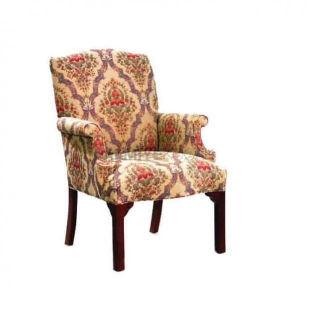 Desenli Kumaş Döşemeli Kollu Sandalye