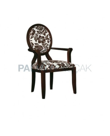 Patterned Fabric Upholstered Wenge Painted Armchair