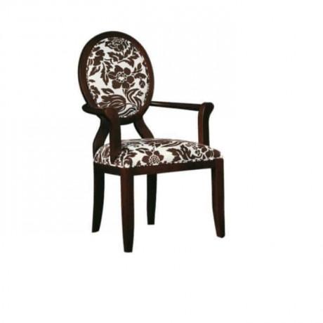 Desenli Kumaş Döşemeli Wenge Boyalı Kollu Sandalye - ksak78
