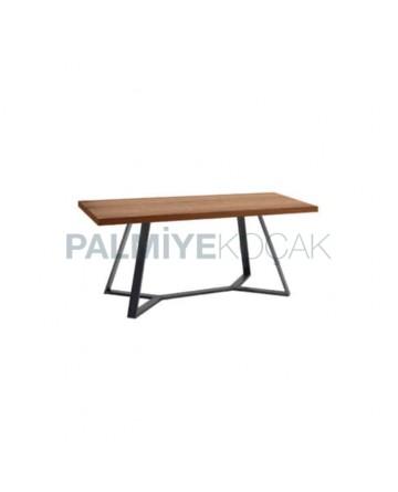 Wood Log Table Top Metal Leg Cafe Table