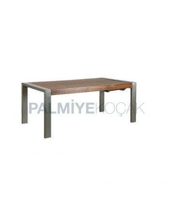 Wooden Table Top Metal Stainless Steel Leg Table