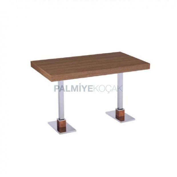 Pine Block Table Top Metal Legs Hotel Table