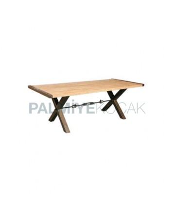 Wood Log Table Top Cross Metal Legs Cafe Table