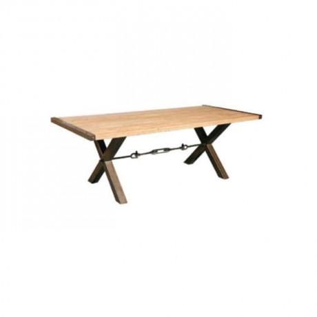 Çapraz Metal Ayaklı Kütük Tablalı Cafe Masası - mtd7541