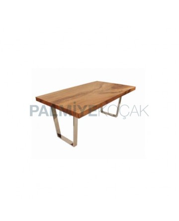 Walnut Block Table Top Stainless Steel Leg Table