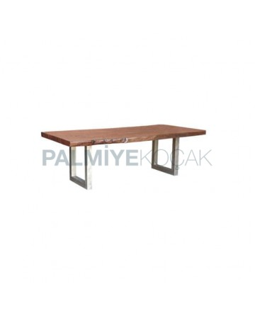 Wood Log Table Top Metal Leg Restaurant Table