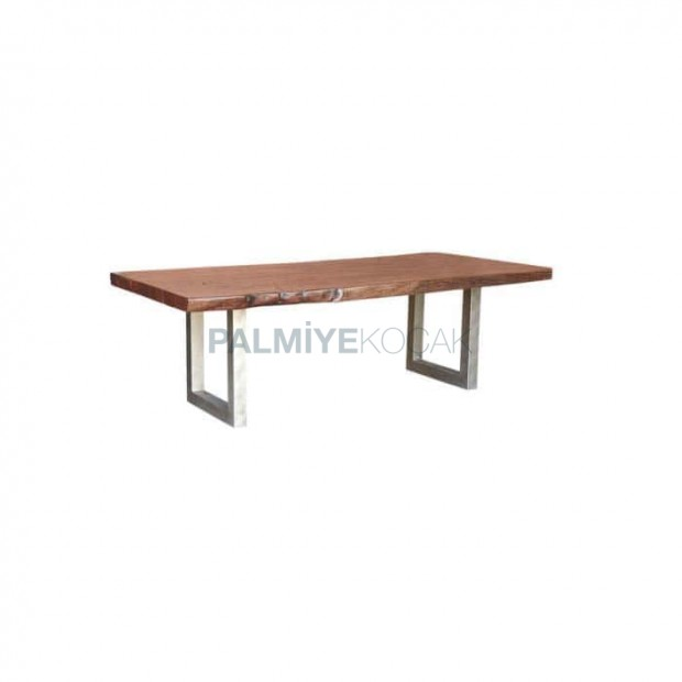 Wood Log Table Top Metal Leg Restaurant Table