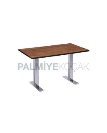 Mdf Lam Table Top Stainless Steel Legged Hotel Table