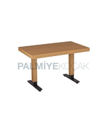 Mdf Lam Table Top Black Metal Leg Restaurant Table