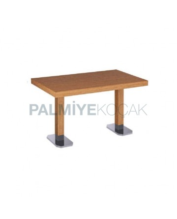 Oak Table Top Stainless Steel Table with Wooden Leg