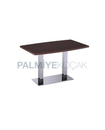Stainless Leg Wooden Table Top Restaurant Table