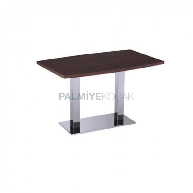 Stainless Leg Wooden Table Top Restaurant Table