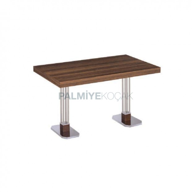 Stainless Steel Floor Table with Wooden Table