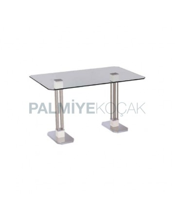 Stainless Leg Cafe Glass Table