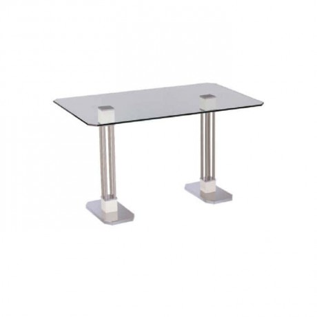 Stainless Leg Cafe Glass Table - mtd7517