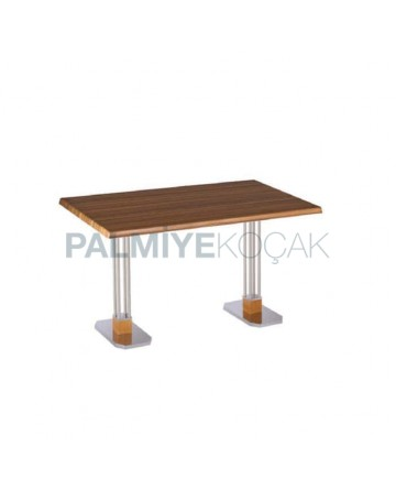 Stainless Steel Bar Iron Leg Werzalit Table Top Dining Table