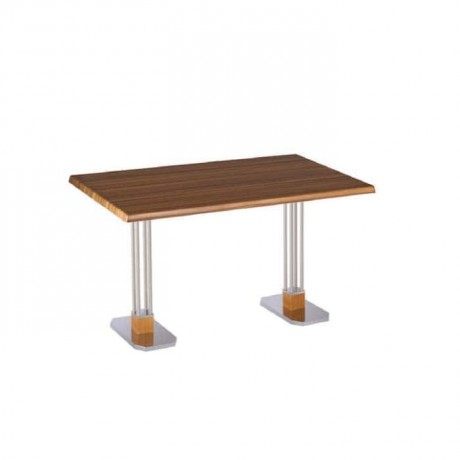Stainless Steel Bar Iron Leg Werzalit Table Top Dining Table - mtd7513