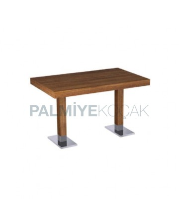 Teak Mdf Lam Table Top Metal Leg Restaurant Table