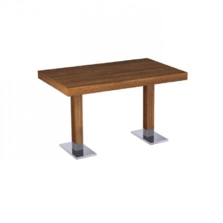 Teak Mdf Lam Table Top Metal Leg Restaurant Table - mtd7504