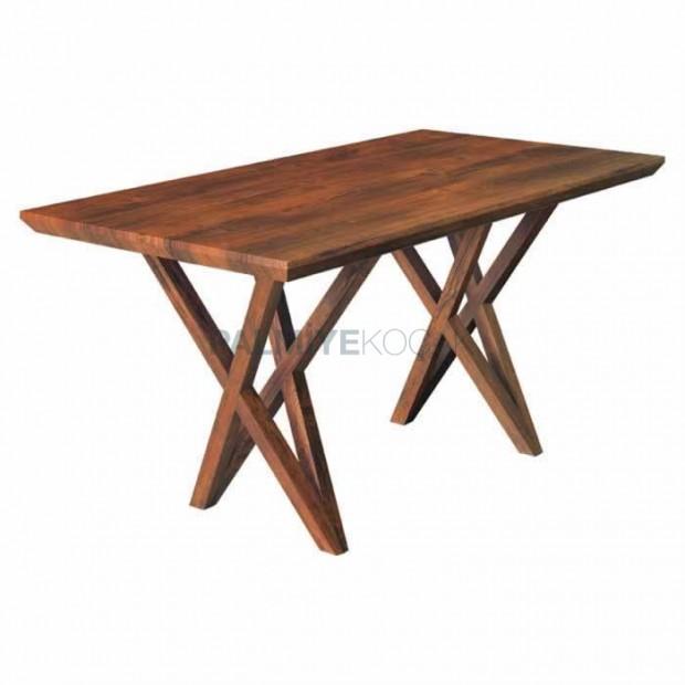 Double Star Leg Rectangular Natural Veneer Table