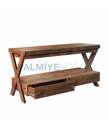 Natural Coating Membrane Table With Rectangular Bottom Drawer