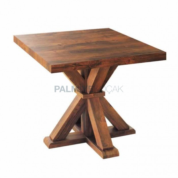 Square Table Natural Coating Cafe Table