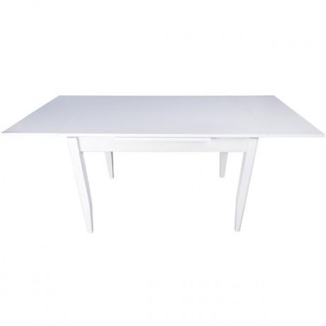Beyaz Suntalam Ahşap Ayaklı Masa Açık Hali - krim2