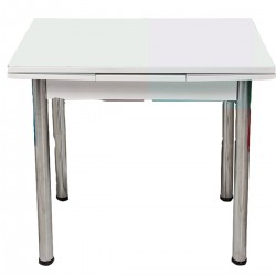White Tempered Glass Kitchen Table