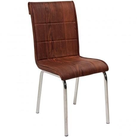 Ahşap Desenli Deri Döşemeli Krom Ayaklı Ucuz Mutfak Sandalyesi - kris1