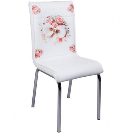 Bahar Çiçeği Desenli Krom Ayaklı Mutfak Sandalyesi - kris26