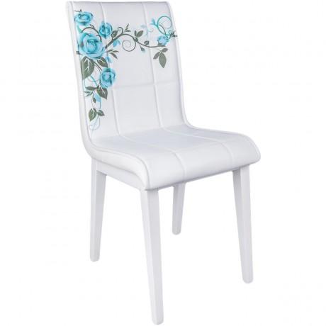 Beyaz Ahşap Ayaklı Mavi Gül Desenli Mutfak Sandalyesi - kris12