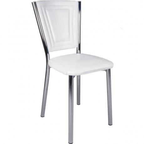 Beyaz Monopetli Dikişli Metal Ayaklı Ekonomik Mutfak Sandalyesi Kalite - kris14