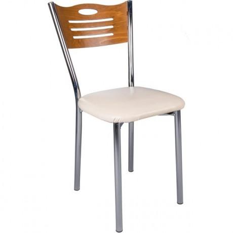 Ceviz Sırt Metal Ayaklı Ekonomik Mutfak Sandalyesi - kris28