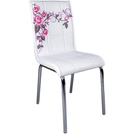 Gül Desenli Ekonomik Metal Ayaklı Mutfak Sandalyesi - kris18