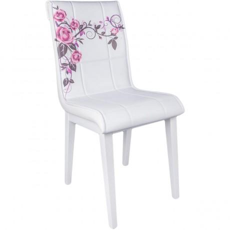 Gül Desenli Monopetli Ahşap Beyaz Ayaklı Ekonomik Mutfak Sandalyesi İmalatı - kris19