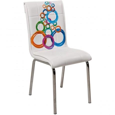 Halka Desenli Beyaz Deri Kaplı Metal Ayaklı Ekonomik Mutfak Sandalyesi - kris2