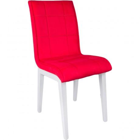 Monopetli Kırmızı Deri Kaplı Krom Ayaklı Ekonomik Ucuz Sandalye - kris5